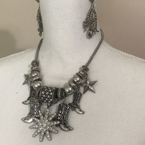 Boots necklace and earrings cowboy silver color